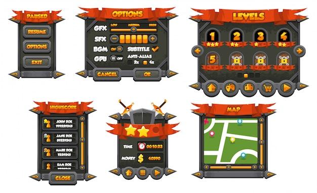 Rpg game gui Premium Vector