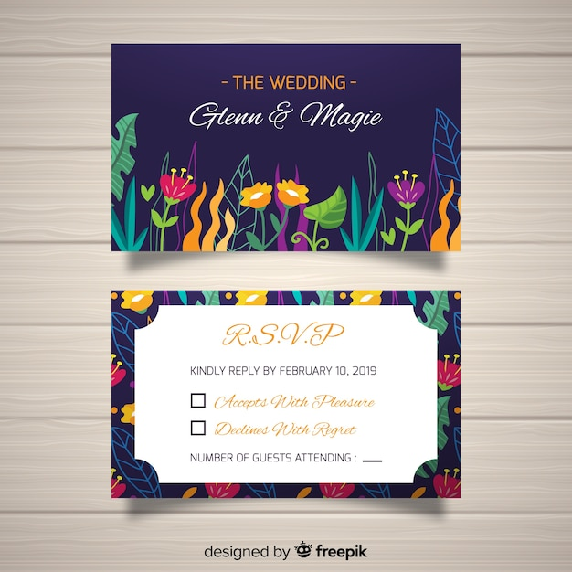 Rsvp Card Template Vector Free Download