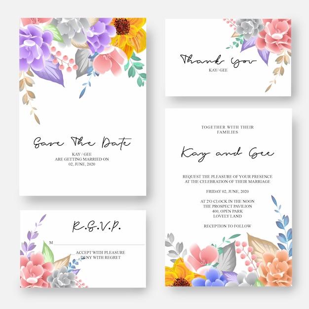 結婚式の招待状、花の招待状ありがとう、rsvpモダンなカードデザイン Premiumベクター