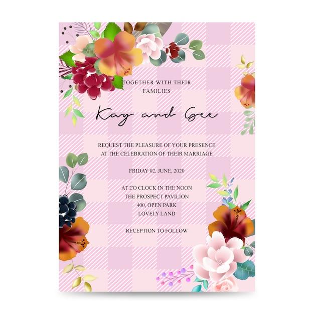 結婚式招待状、花の招待状ありがとう、rsvpモダンなカードデザイン:熱帯熱帯ヤシの葉緑ユーカリの枝装飾的な花輪&フレームパターン。ベクトルエレガントな水彩素朴なテンプレート Premiumベクター