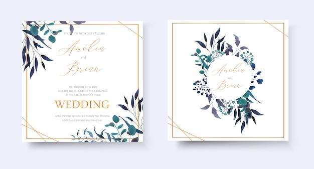 結婚式の花の黄金の招待状は、熱帯の葉のハーブユーカリの花輪とフレームの日付rsvpデザインを保存します。植物のエレガントな装飾的なベクトルテンプレート水彩風 無料ベクター