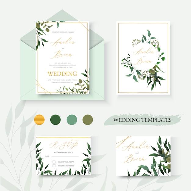 結婚式の花の金の招待カード封筒は緑の熱帯の葉のハーブユーカリの花輪とフレームで日付のrsvpデザインを保存します。植物のエレガントな装飾的なベクトルテンプレート水彩風 無料ベクター