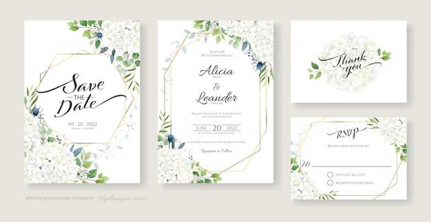 Приглашение на свадьбу, сохранить дату, спасибо, дизайн карты rsvp. белые цветы гортензии с зеленью. Premium векторы