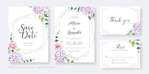 Свадебные приглашения, сохранить дату, спасибо, шаблон rsvp. цветок гортензии, розовая роза с зеленью. Premium векторы