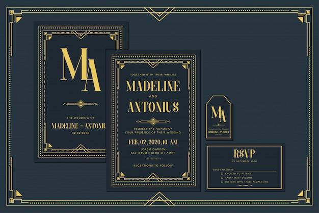 フレームとゴールドカラーのアールデコの婚約/結婚式の招待カードテンプレート。クラシックネイビープレミアムヴィンテージスタイル。サンキュータグとrsvpを含める Premiumベクター