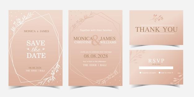 花のベクトルのデザインとモダンな幾何学的なシンプルな結婚式の招待状カードのテンプレート。 rsvpブライダルカード Premiumベクター
