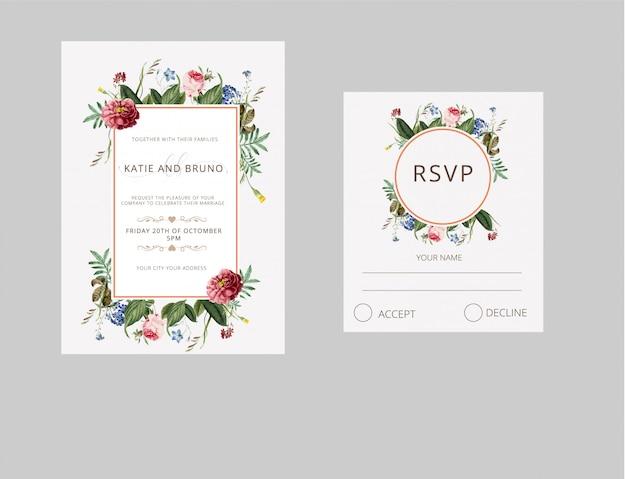 結婚式招待状のrsvpカード水彩風 Premiumベクター