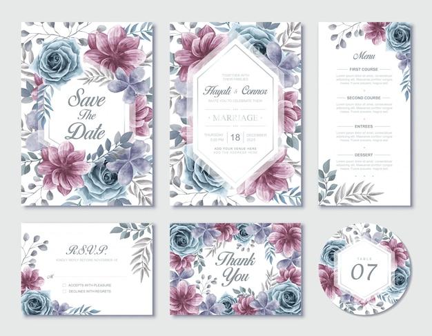 水彩花の結婚式の招待状の文房具セットrsvpとありがとうカード Premiumベクター