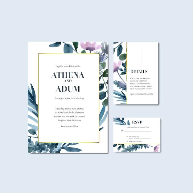 Счастливая свадьба карты цветочный сад пригласительный билет брак, rsvp подробно. Бесплатные векторы