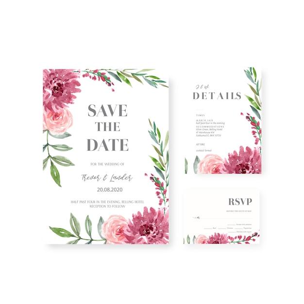 幸せな結婚式カード花の庭の招待状カード結婚、rsvpの詳細。 無料ベクター