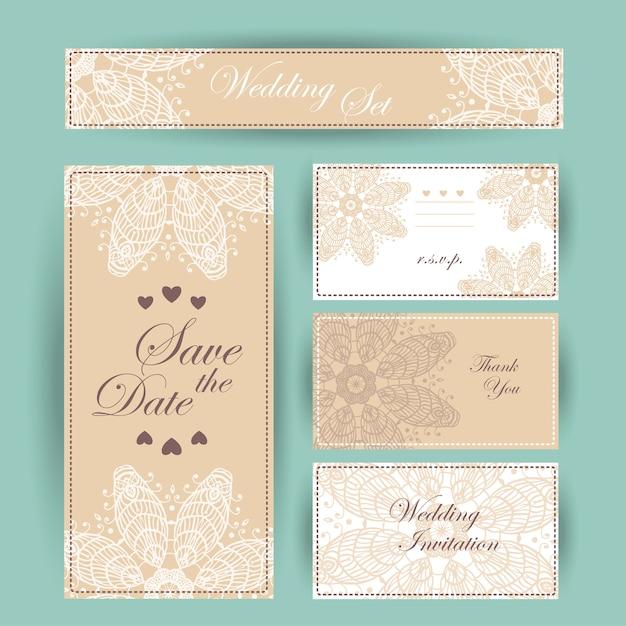 結婚式の招待状、ありがとうカード、日付カードを保存します。 rsvpカード Premiumベクター