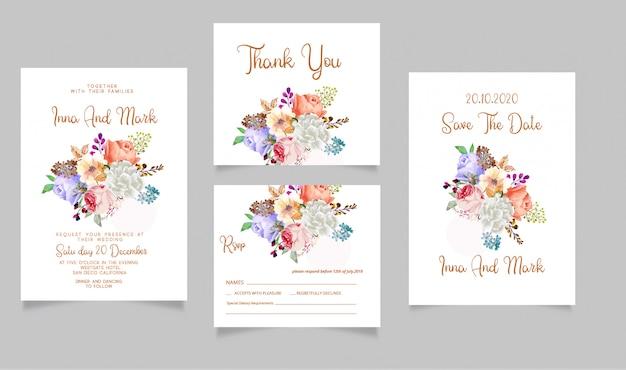 結婚式招待状のrsvpカードと日付ありがとうカードを保存 Premiumベクター
