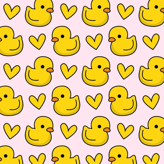 Rubber duck pattern with heart Premium Vector