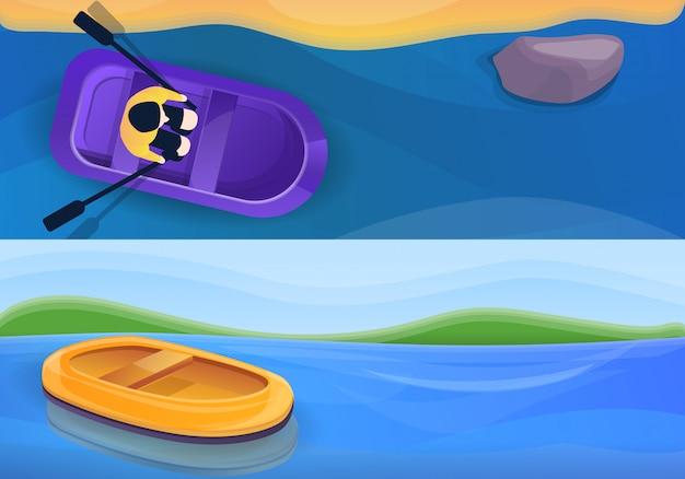 Резиновая надувная лодка иллюстрации, мультяшном стиле Premium векторы