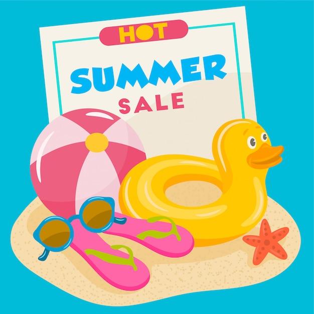 Rubber swimming duck and beach ball Premium Vector