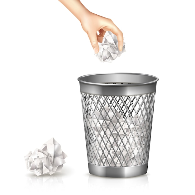 Rubbish bin with hand and used paper sheet realistic Free Vector
