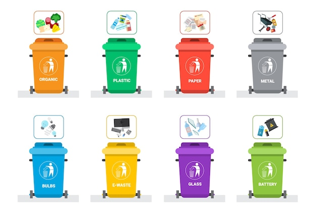 Rubbish container for sorting waste Premium Vector