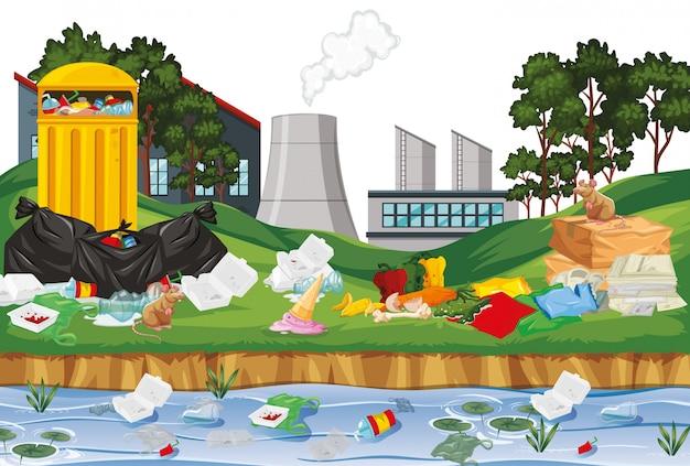 Rubbish in outdoor factory scene Free Vector
