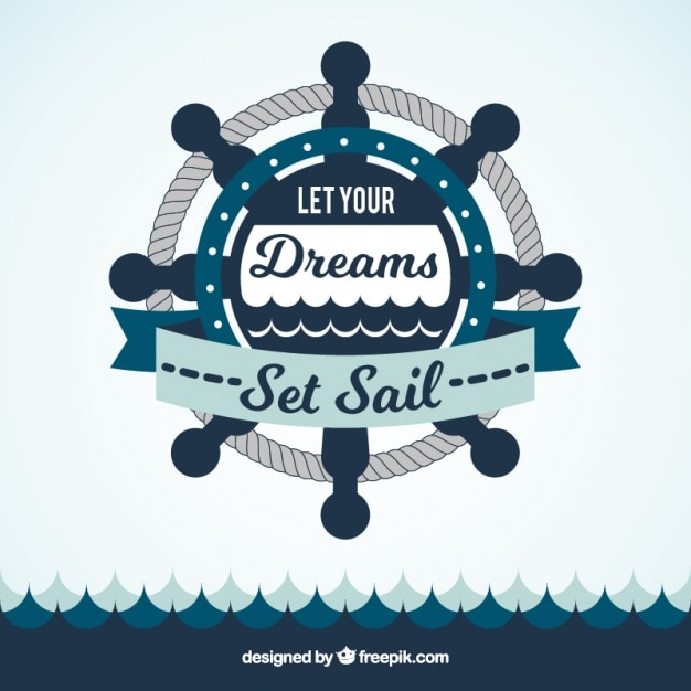 Rudder and sea background with inspiring phrase Free Vector