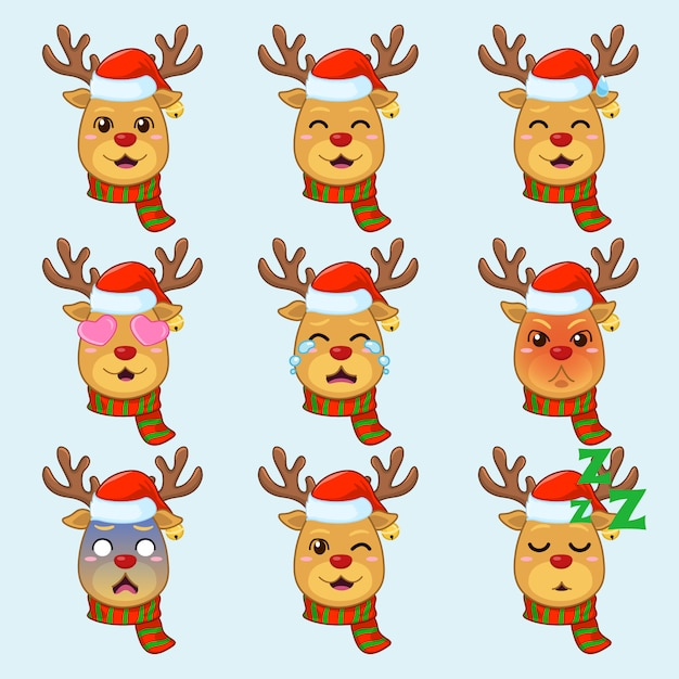 Rudolph the deer in different emotion Premium Vector