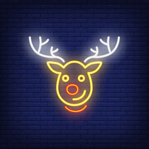 Rudolph neon christmas reindeer cartoon character. night bright advertisement element. Free Vector