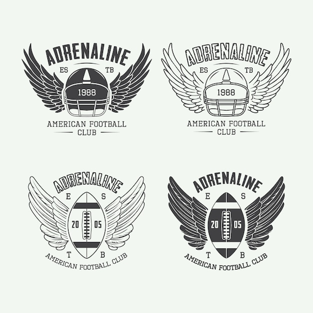 Rugby and american football emblems and logo. Premium Vector
