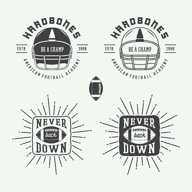 Rugby and american football emblems Premium Vector