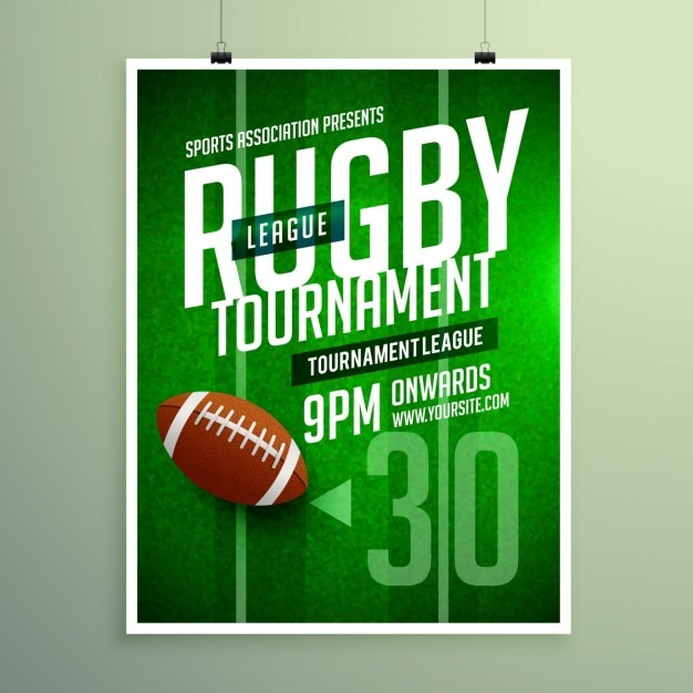 Rugby league game flyer Free Vector
