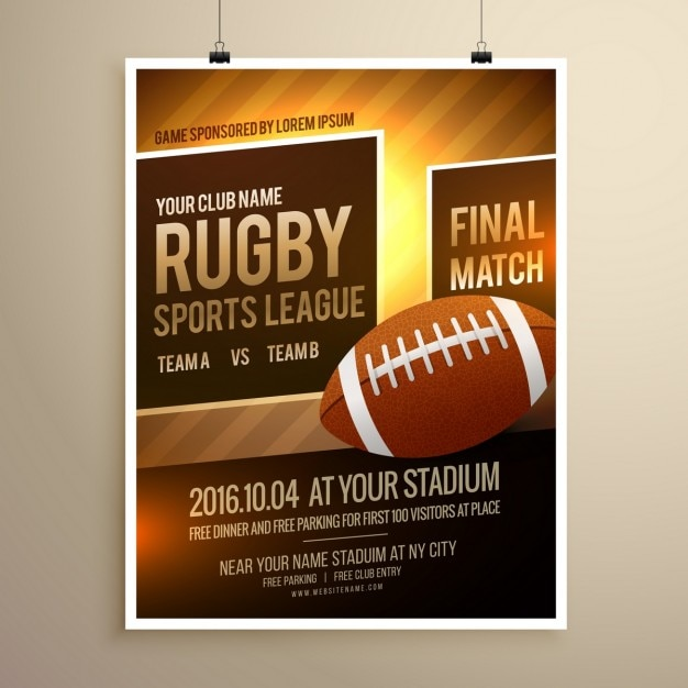 Rugby Sports Flyer Template Vector  Free Download