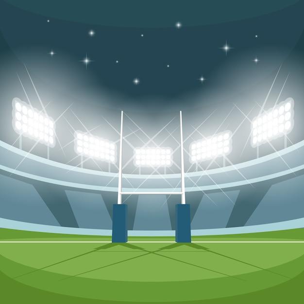 밤에 조명과 함께 럭비 경기장. 야간 조명, 게임 및 목표, 투광 조명, 스포트라이트 및 지상, 무료 벡터