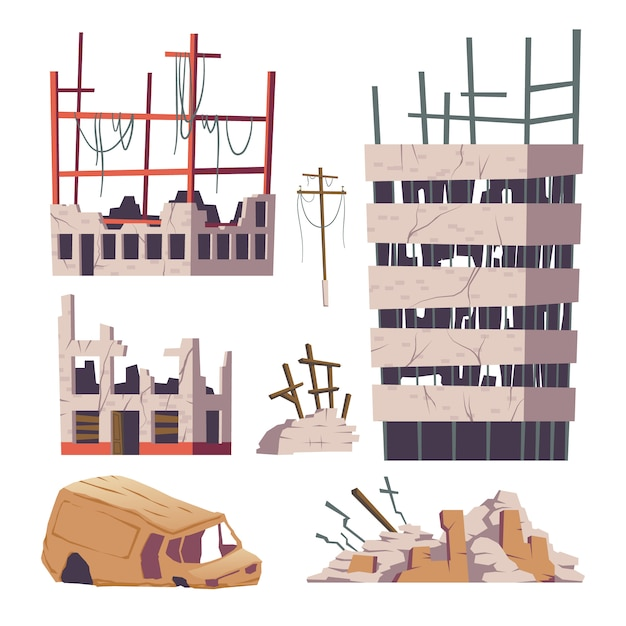 Ruined abandoned houses and car set Free Vector