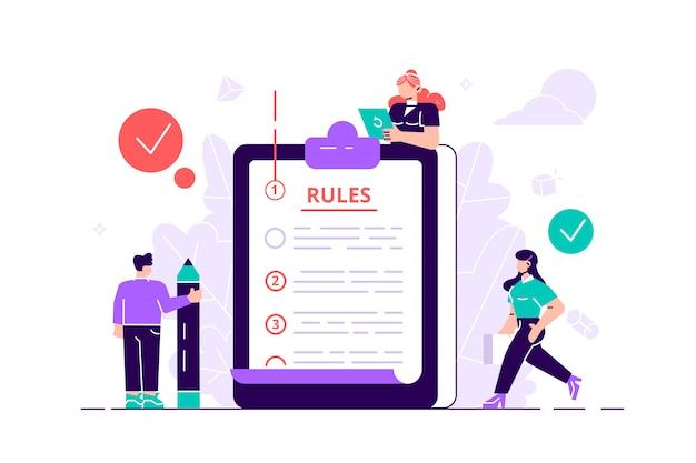 Rules concept. regulations checklist persons Premium Vector