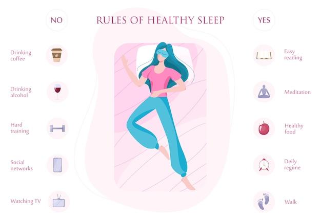 Правила крепкого здорового сна в ночное время. список советов Premium векторы