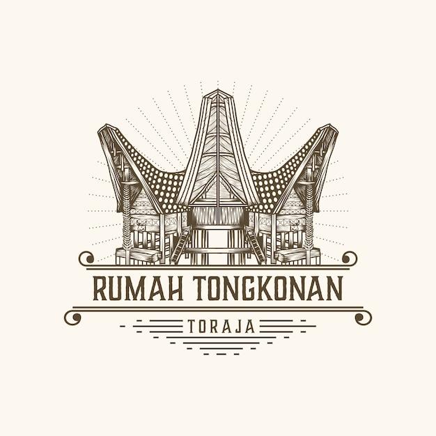 Rumah Tongkonan Toraja Indonesia Premium Vector