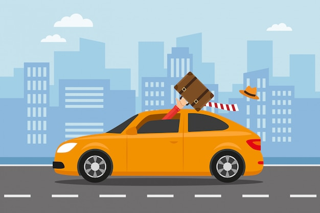 Run away by car to travel for holidays Premium Vector