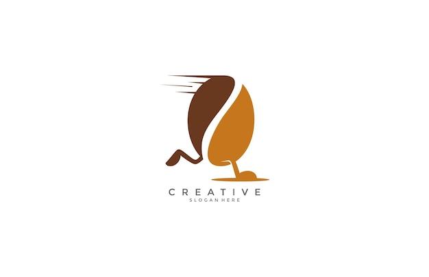 コーヒー豆のモダンなロゴデザインを実行します Premiumベクター