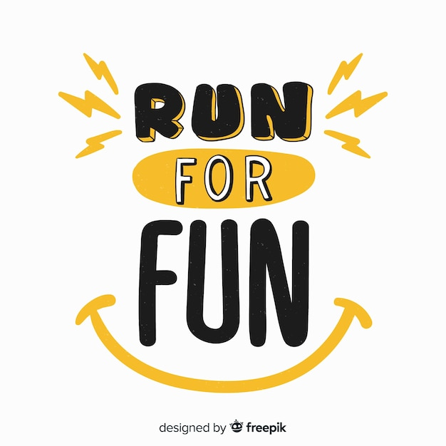 Run for fun sports lettering Free Vector