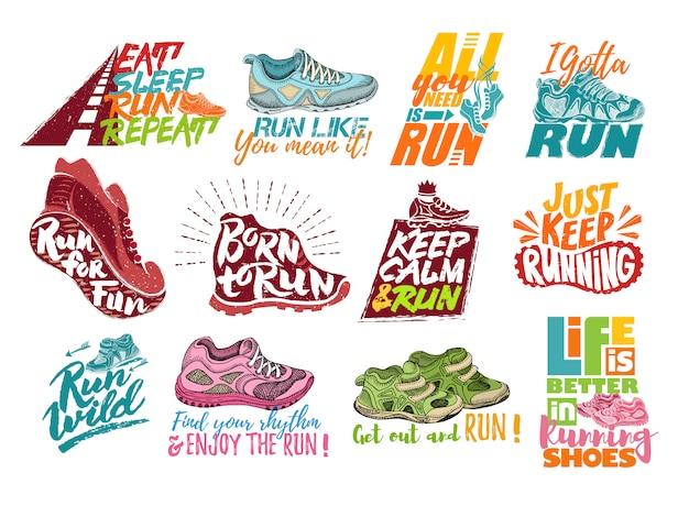 Выполнить надписи на кроссовках вектор спортивные мотивации фразы Premium векторы