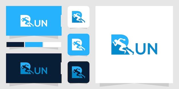 Run logo template Premium Vector