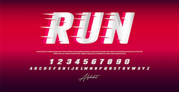 Run style font, alphabet and numbers, Premium Vector