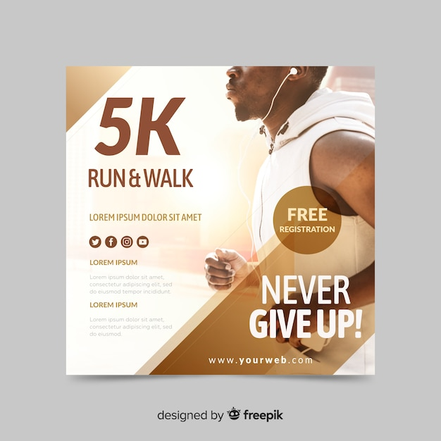 Run and walk sport banner with image Free Vector