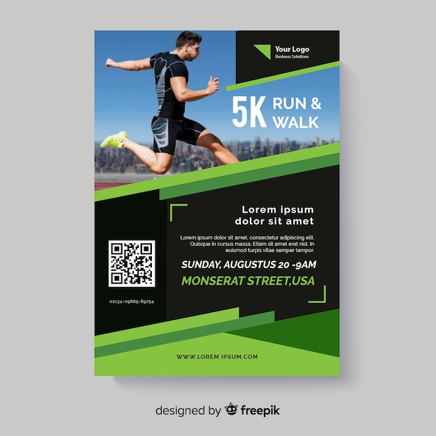 Run and walk sport flyer with photo Free Vector