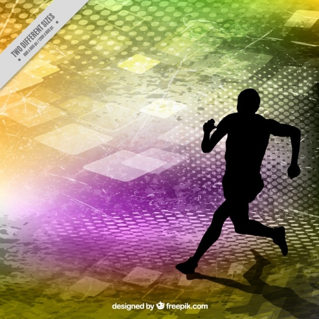 Runner silhouette on a colors abstract background Free Vector