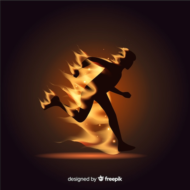 Runner silhouette in flames flat design Free Vector