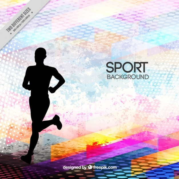 runner silhouette on a abstract background vector