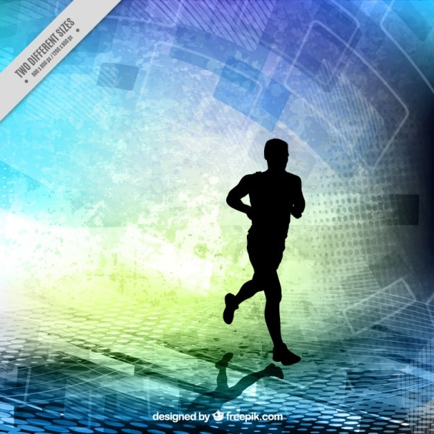 Runner silhouette on a abstract shapes background Free Vector