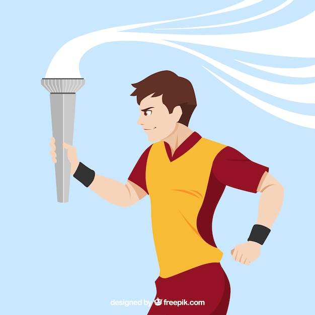 Runner with olympic torch Free Vector