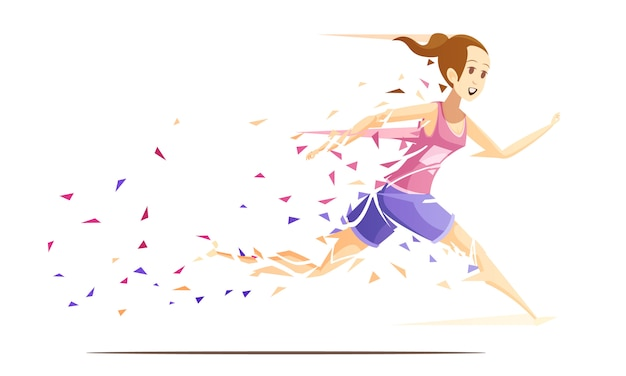 Runner woman action retro cartoon composition with running girl athlete falling to pieces of splash paper vector illustration Premium Vector