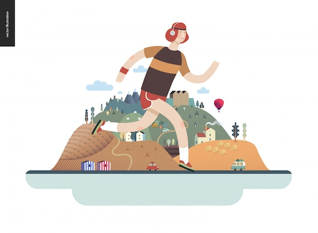 Runners - guy exercising Premium Vector