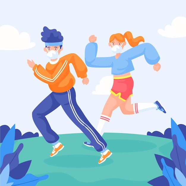 Runners with face masks outdoors Free Vector